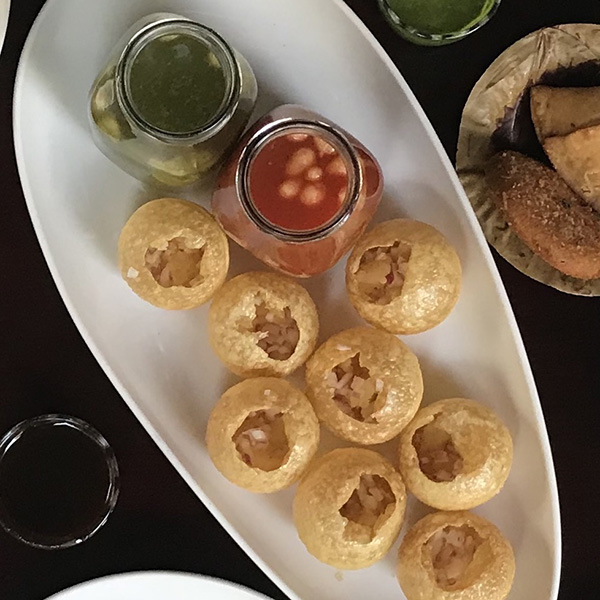Panipuri with Water, Chutney, Potatoes